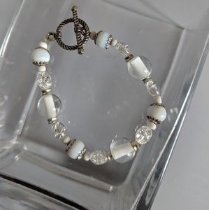 White and Clear Crackle Bracelet